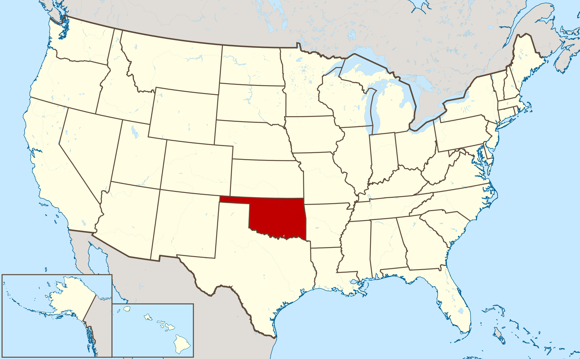 large location map of oklahoma state