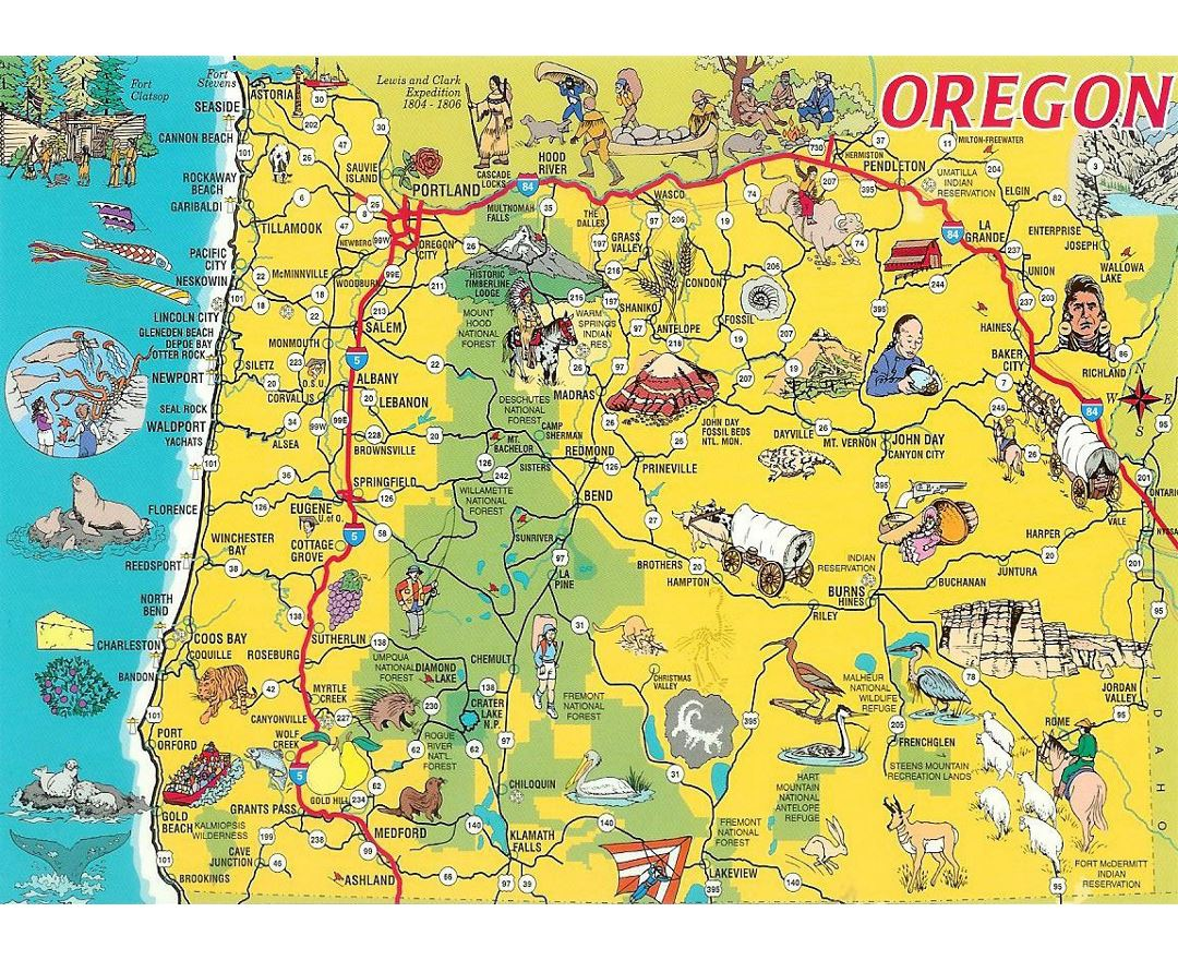 Detailed tourist illustrated map of Oregon state