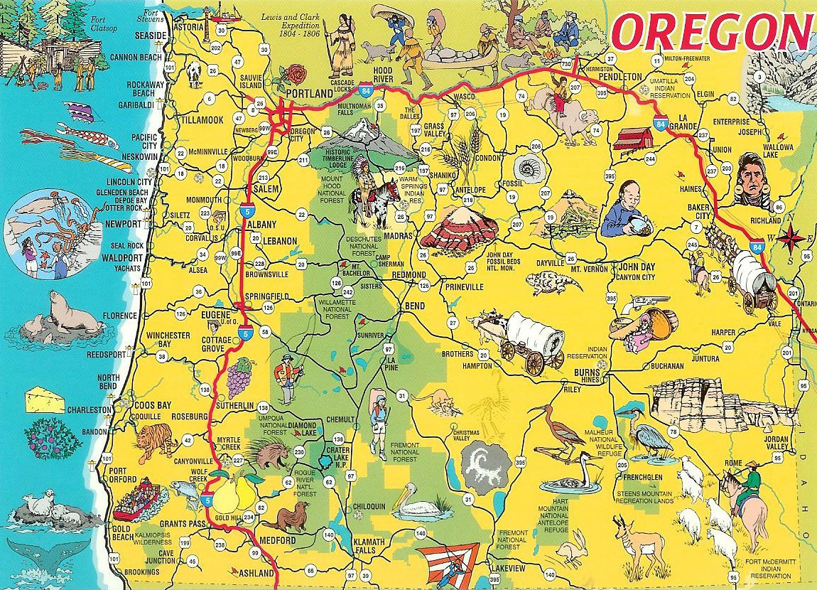Detailed Tourist Illustrated Map Of Oregon State Oregon State