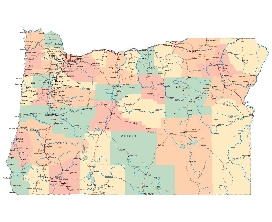 Maps Of Oregon State Collection Of Detailed Maps Of Oregon State - Oregon state map with cities
