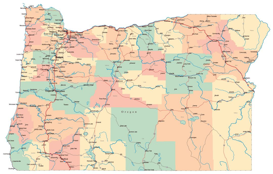 Large administrative map of Oregon state with roads, highways and cities