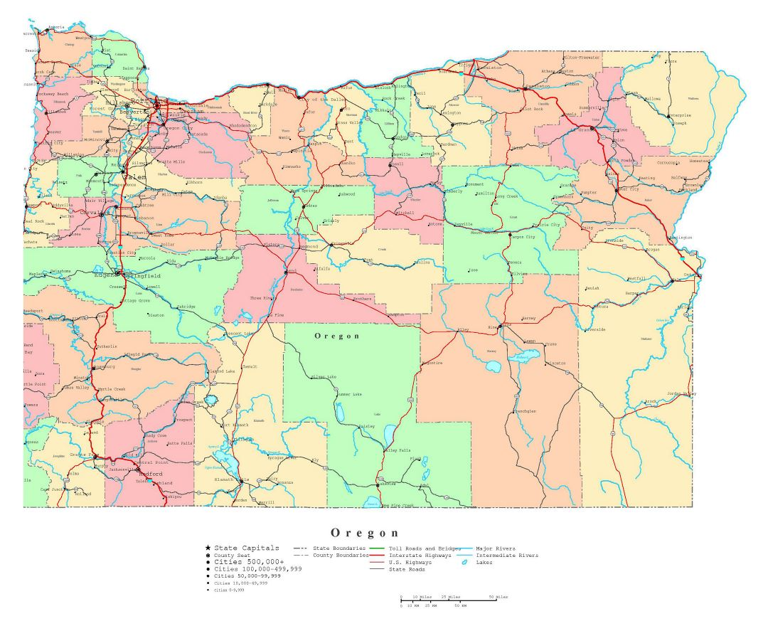 Maps of Oregon state Collection of detailed maps of Oregon state