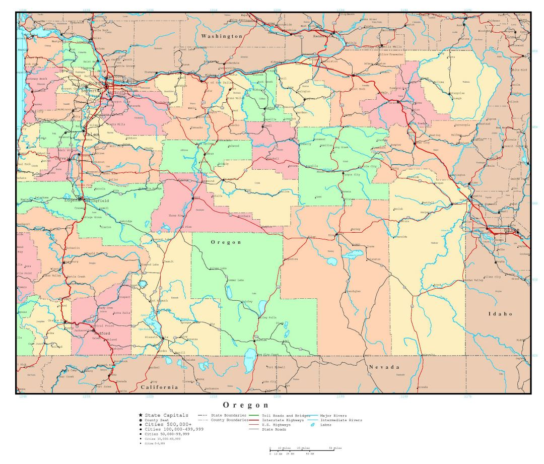 Large detailed administrative map of Oregon state with roads, highways and major cities