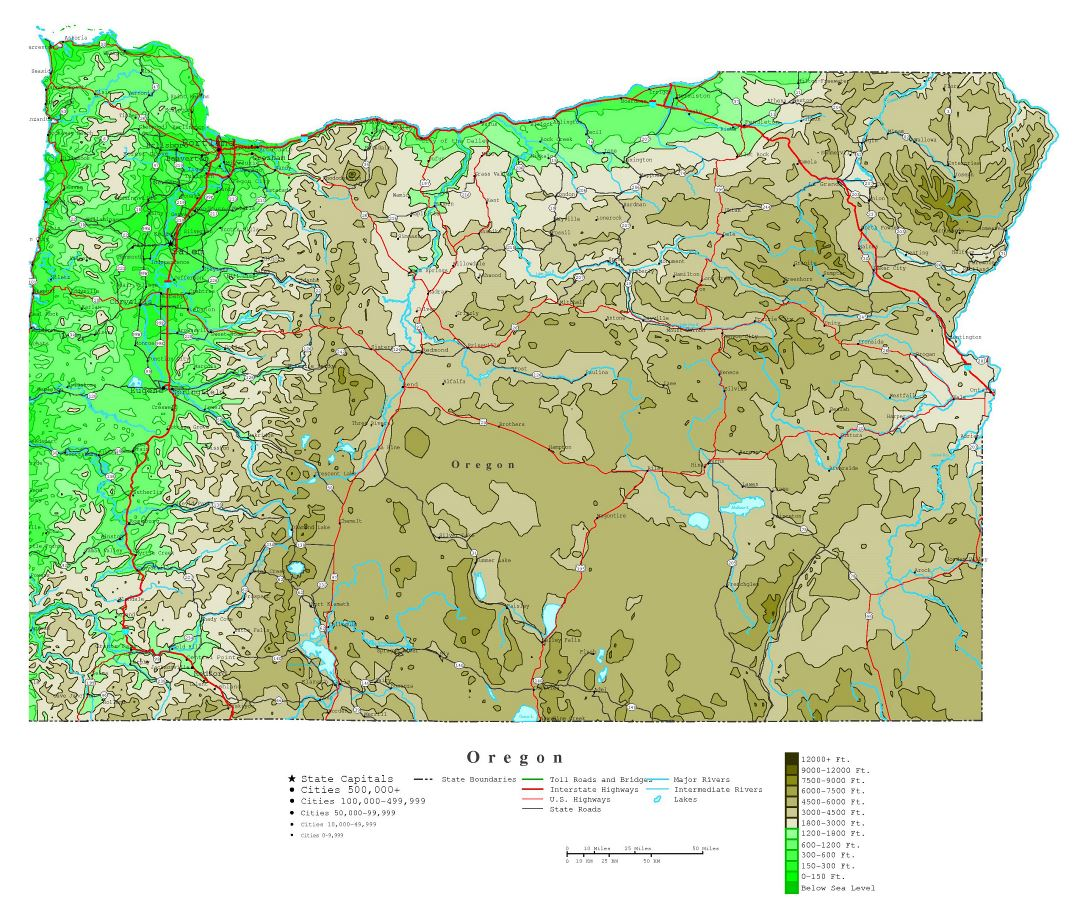 Large detailed elevation map of Oregon state with roads, highways and all cities