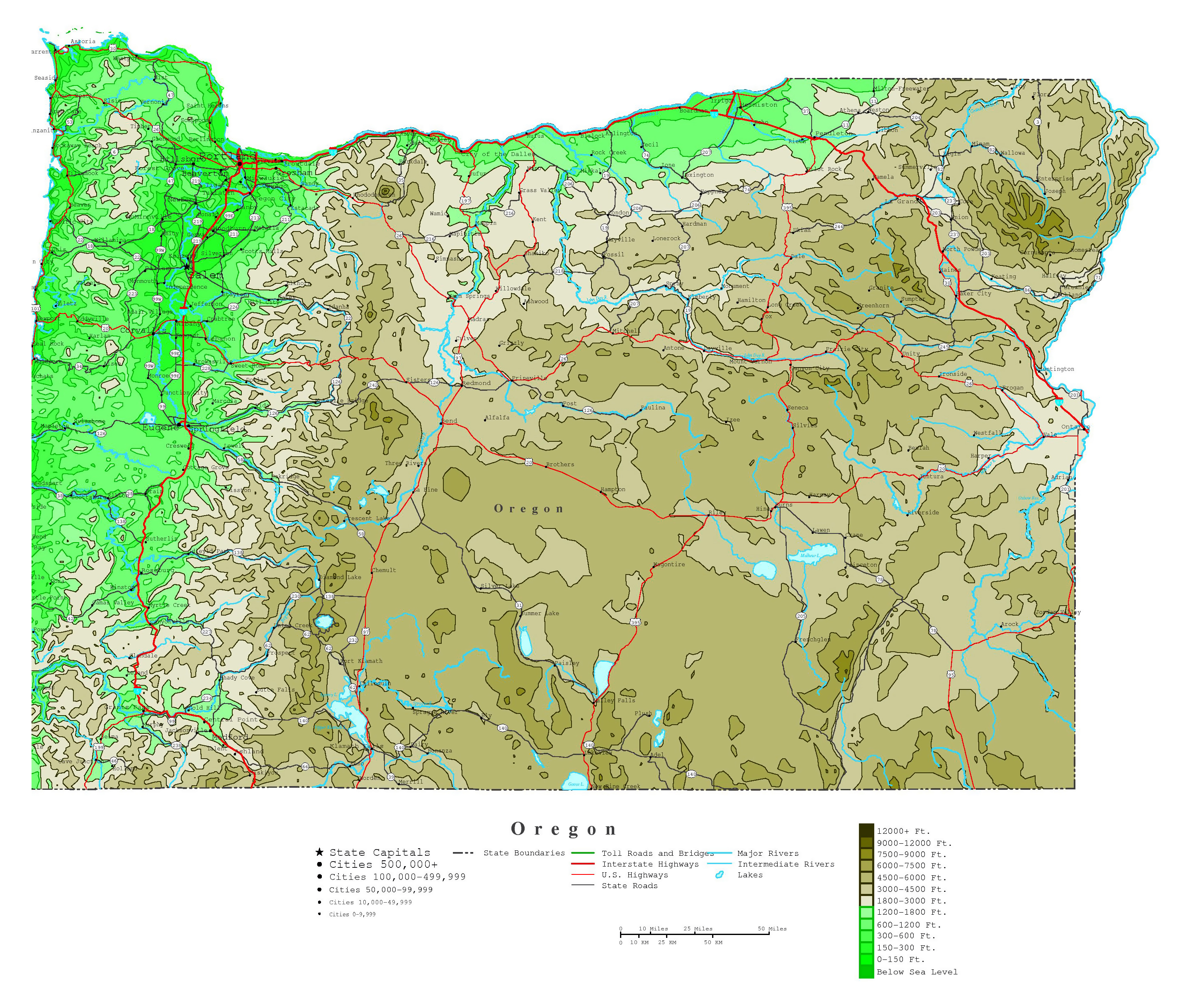Large detailed elevation map of Oregon state with roads highways