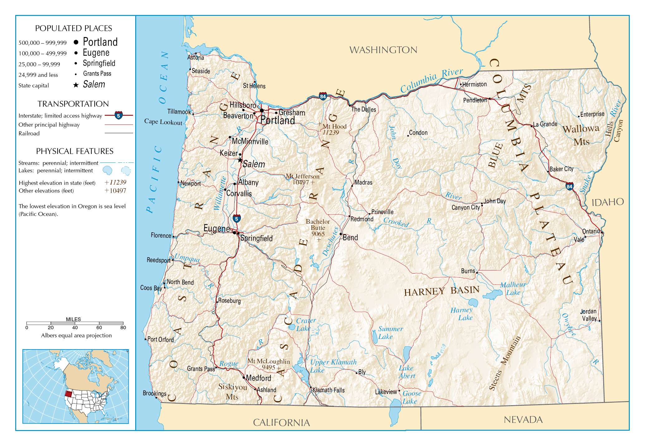 Large detailed map of Oregon state Oregon state USA Maps of