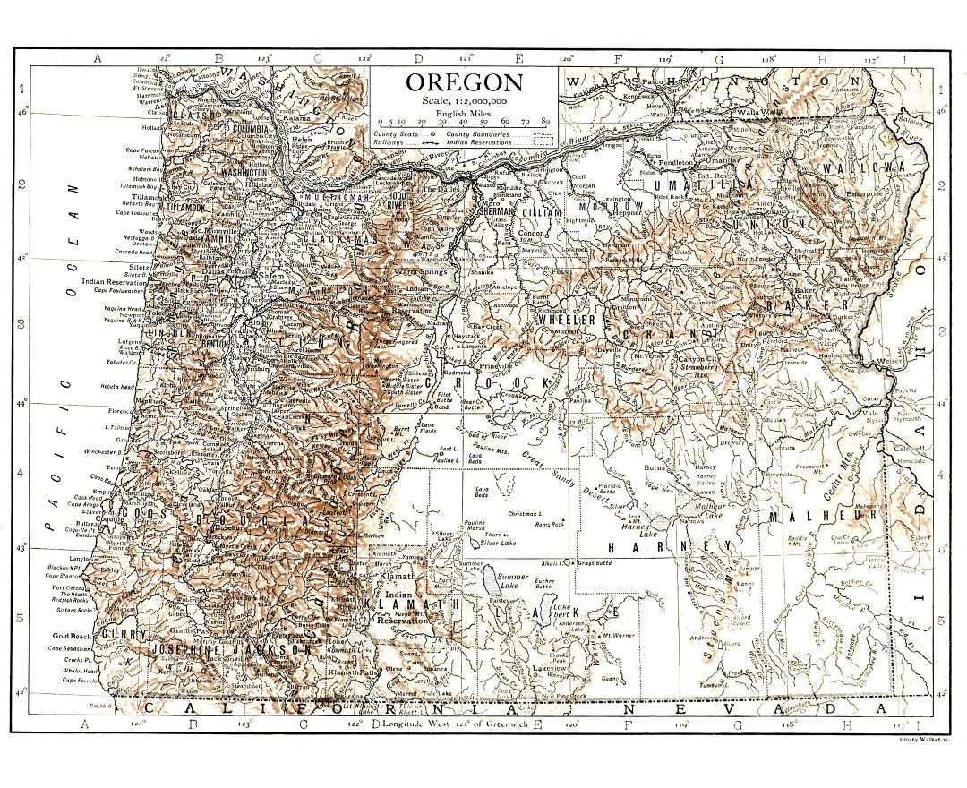 Large detailed old map of Oregon state with relief - 1911