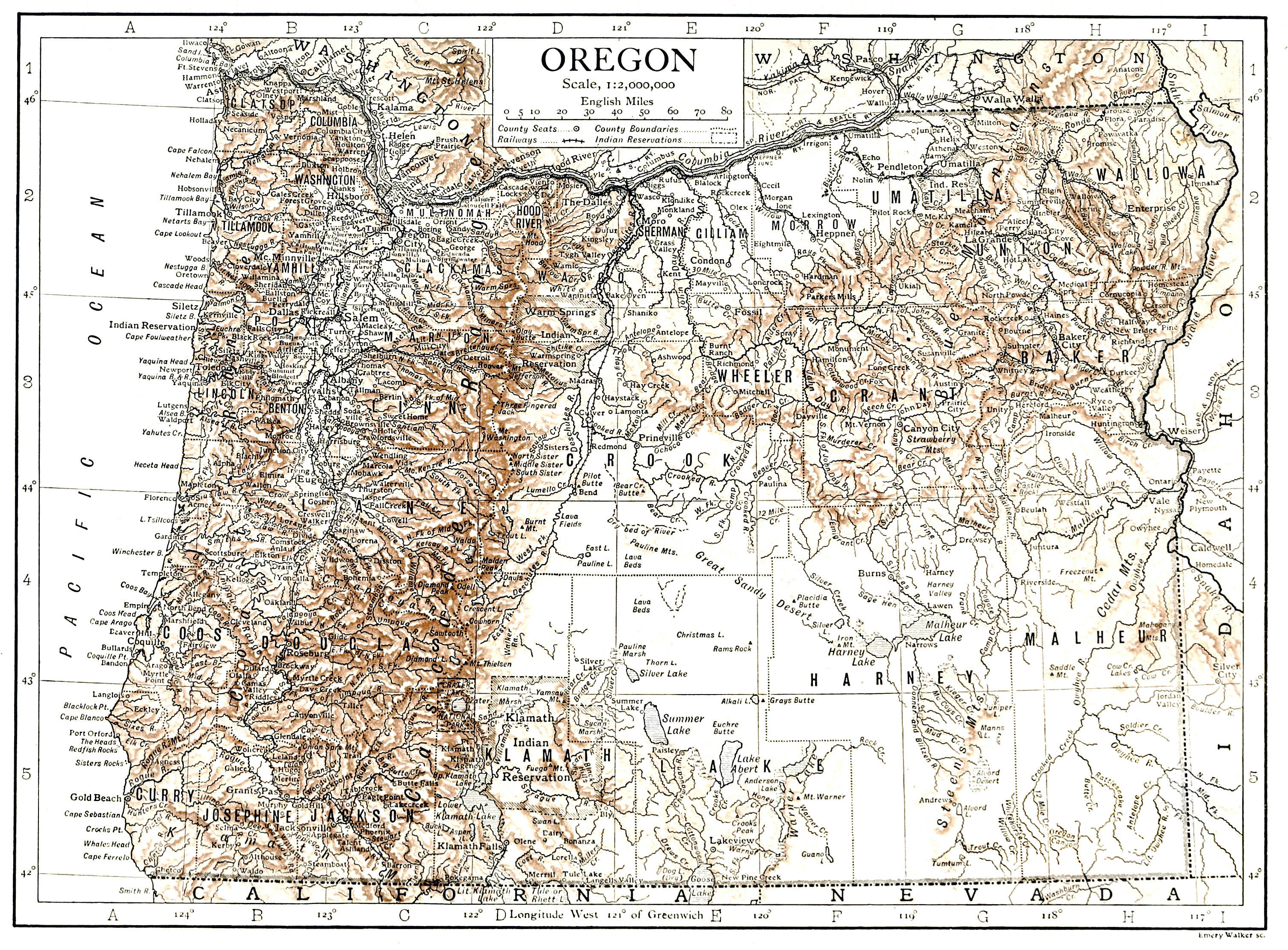 Large detailed old map of Oregon state with relief 1911 Oregon