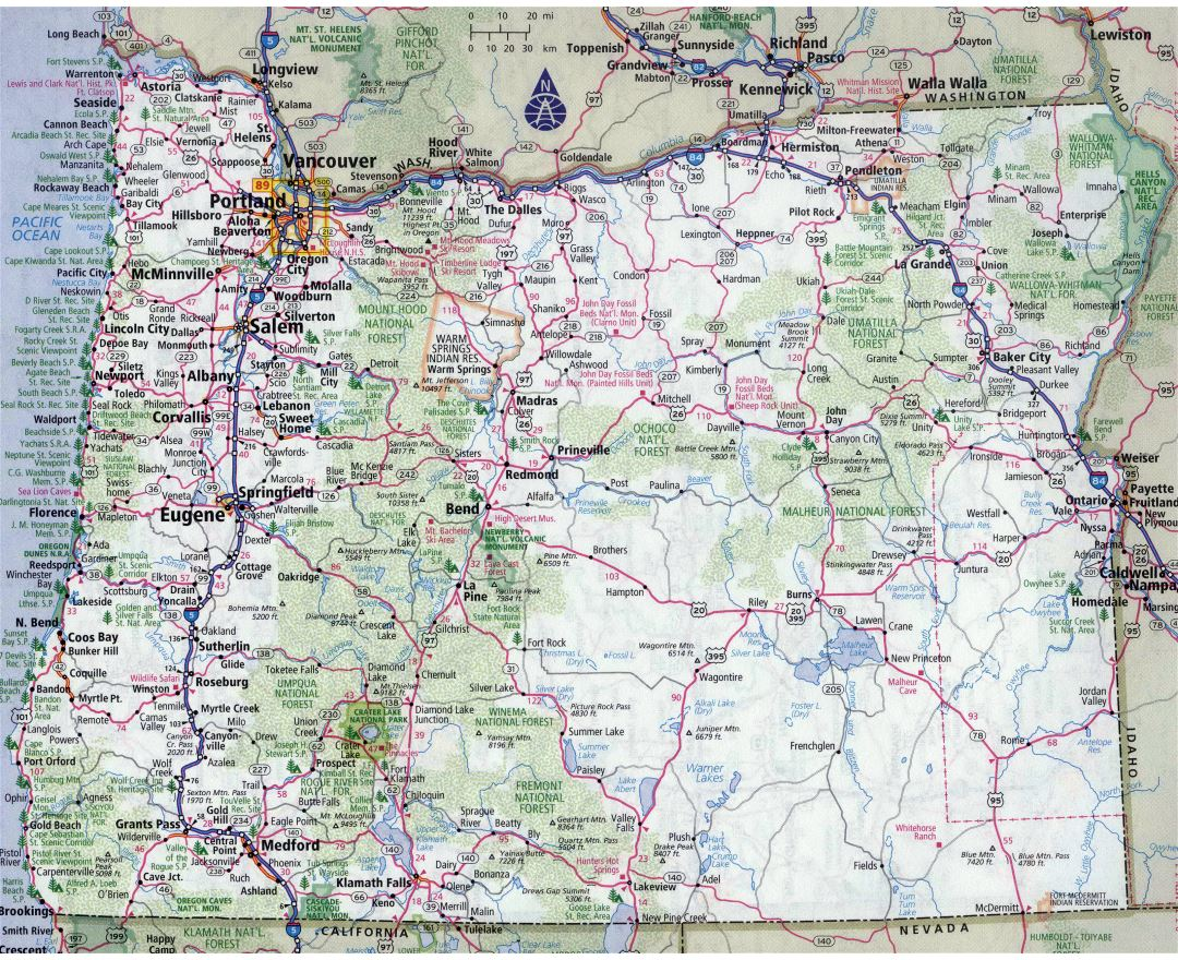 Large detailed roads and highways map of Oregon state with all cities