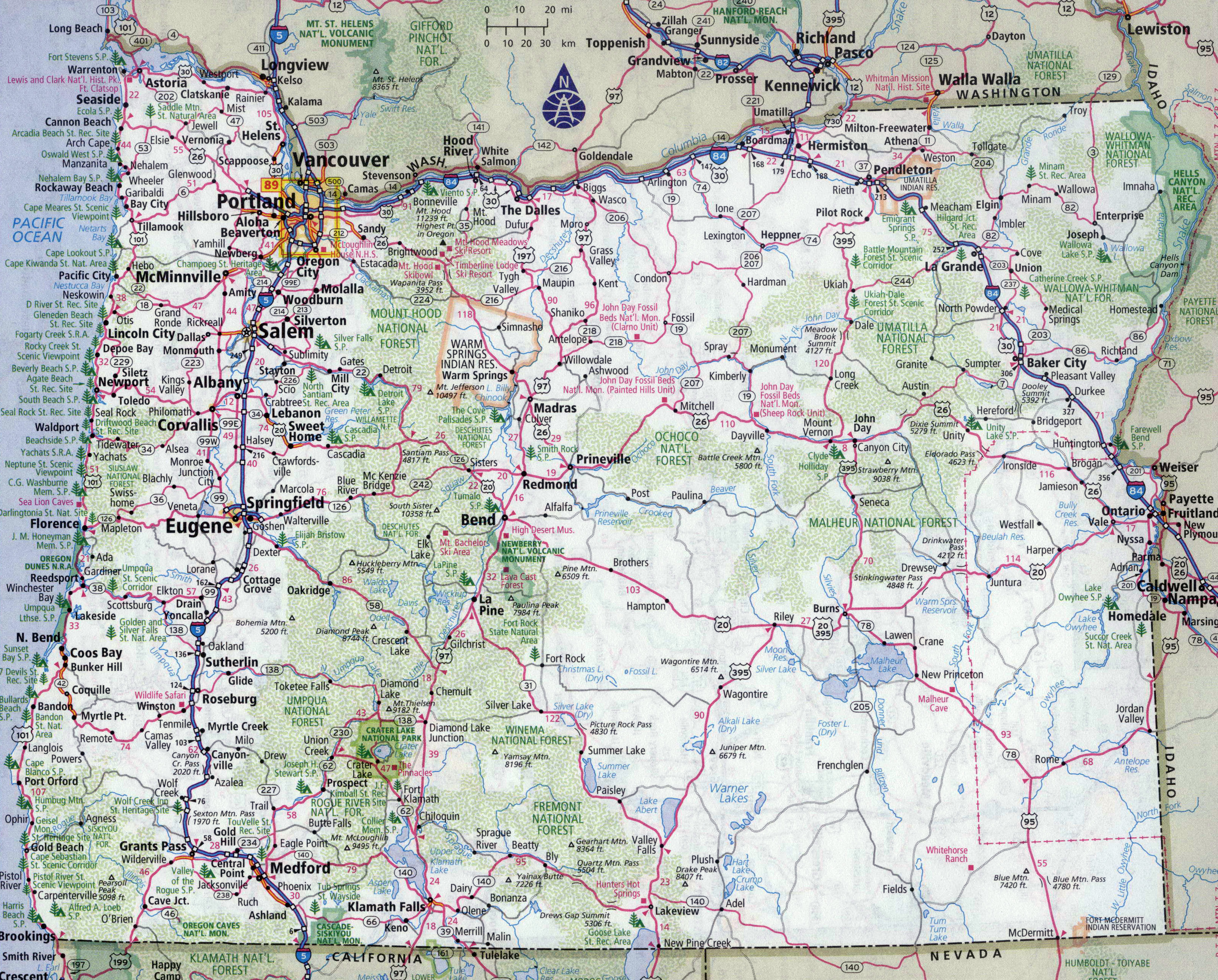 Large detailed roads and highways map of Oregon state with all ... on
