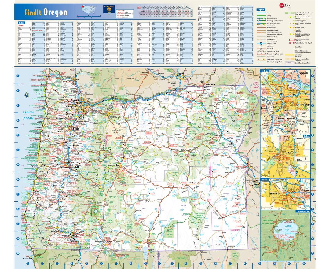 Large detailed roads and highways map of Oregon state with national parks, all cities, towns and villages
