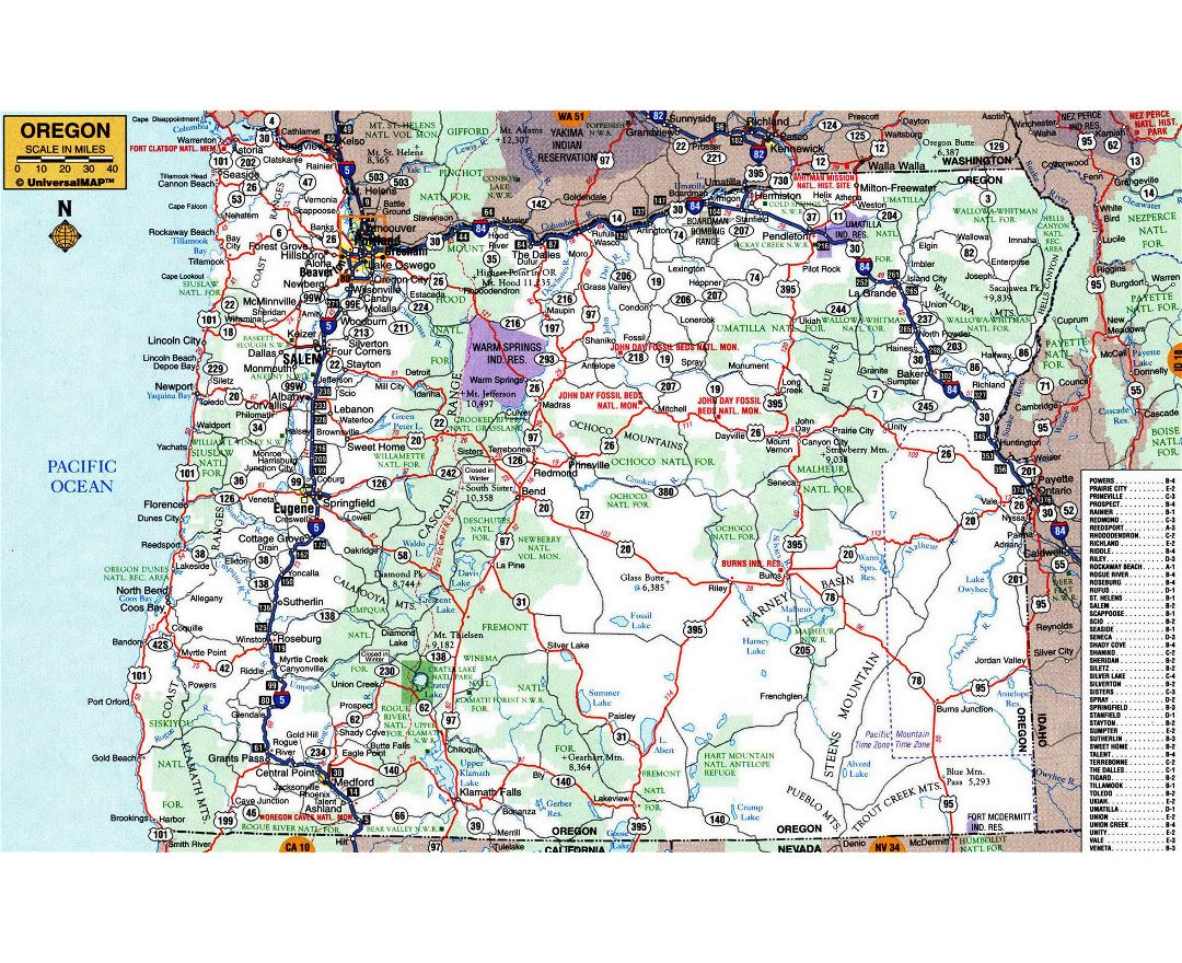 Large detailed roads and highways map of Oregon state with other marks