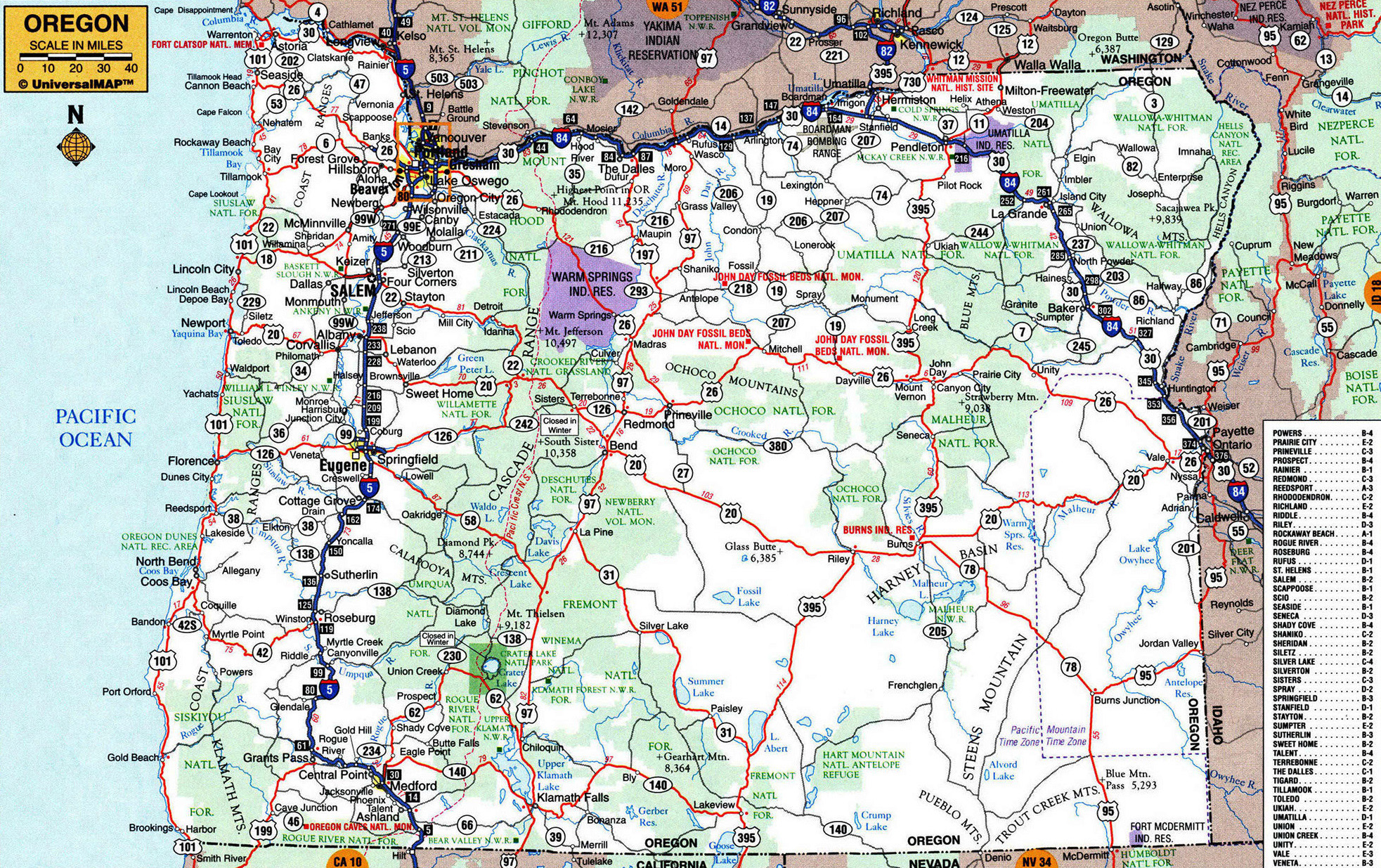 Detailed Map Of Oregon Large detailed roads and highways map of Oregon state with other