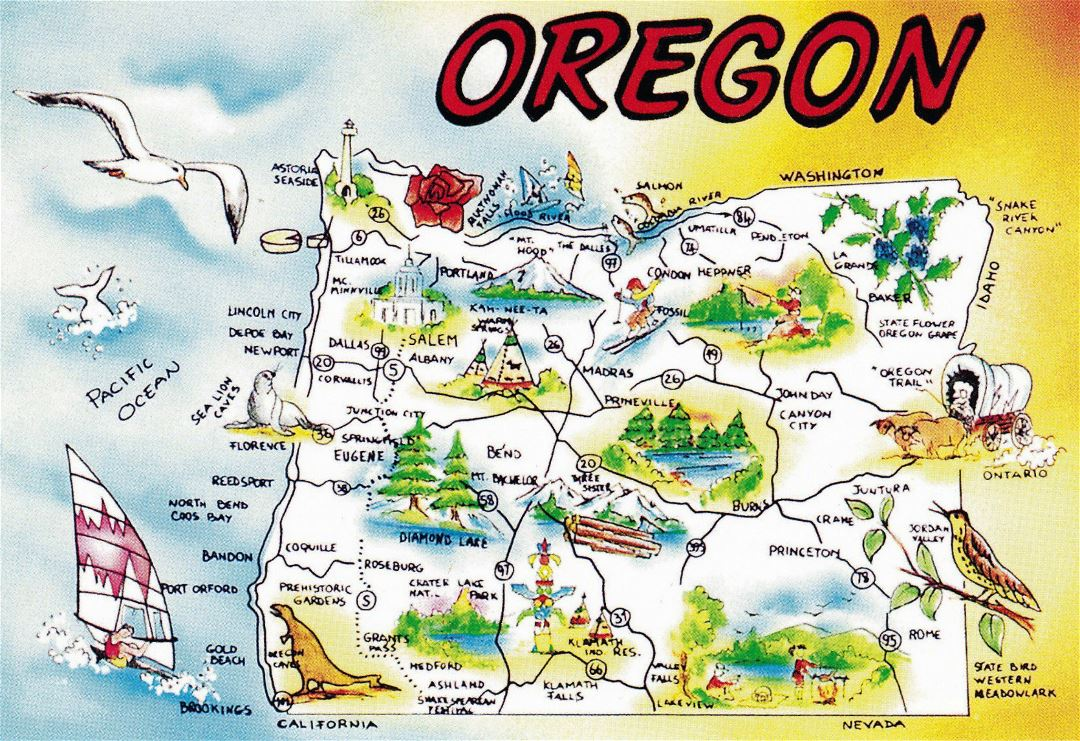 Large tourist illustrated map of Oregon state