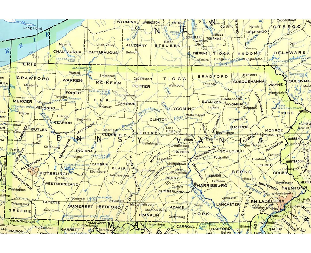 Administrative map of Pennsylvania state