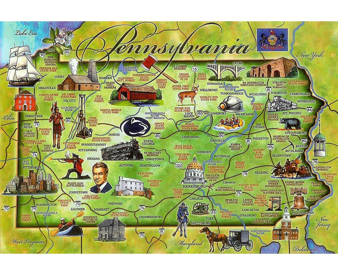 Detailed tourist illustrated map of Pennsylvania state