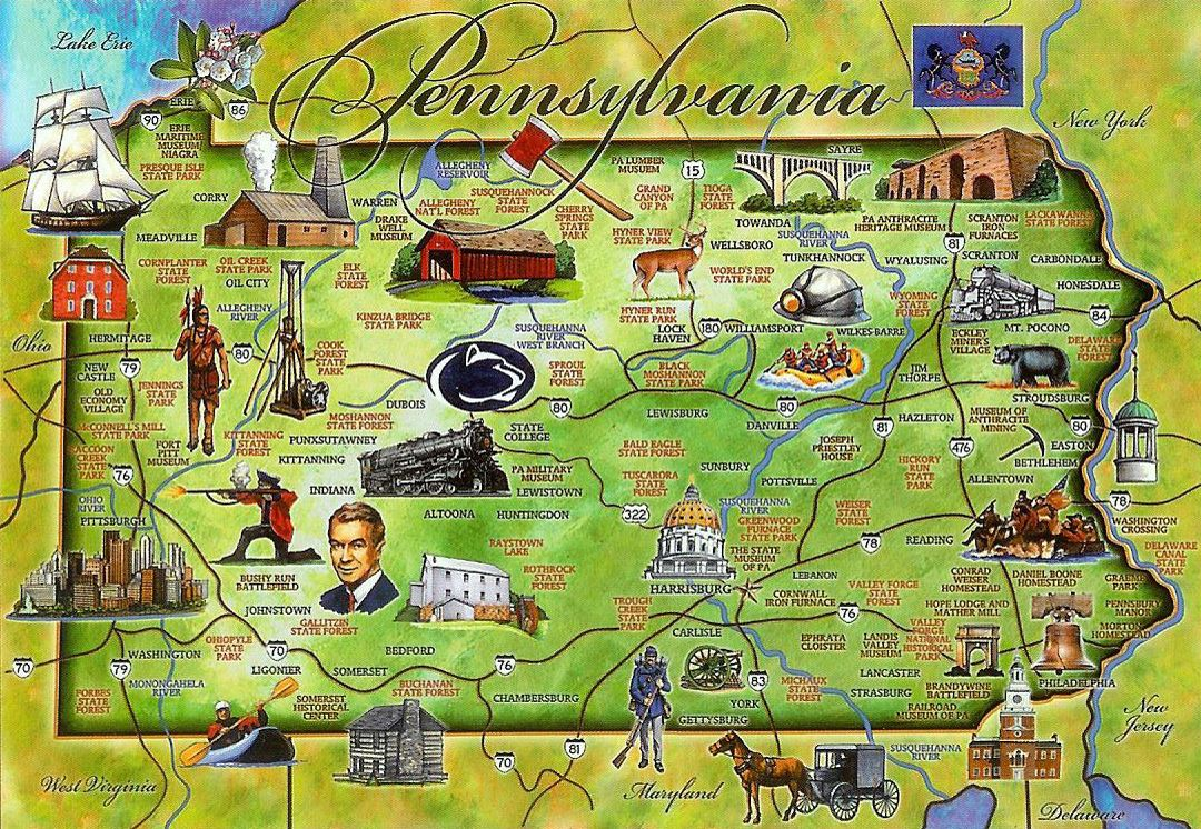 Detailed tourist illustrated map of Pennsylvania state ... on pennsylvania colors, pittsburgh map usa, ohio map usa, clemson university map usa, colorado map usa, mississippi map usa, pittsburgh pennsylvania usa, iowa map usa, pennsylvania on map, wisconsin map usa, oregon map usa, new york on map of usa, pennsylvania statehood, nebraska map usa, oklahoma map usa, indiana map usa, minnesota map usa, pennsylvania caves map locations, connecticut map usa, michigan map usa,