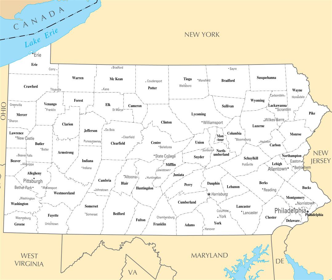 Large administrative map of Pennsylvania state with major cities