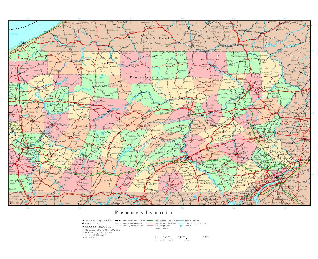 Large detailed administrative map of Pennsylvania state with roads, highways and major cities