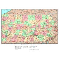 Large detailed administrative map of Pennsylvania state with ...