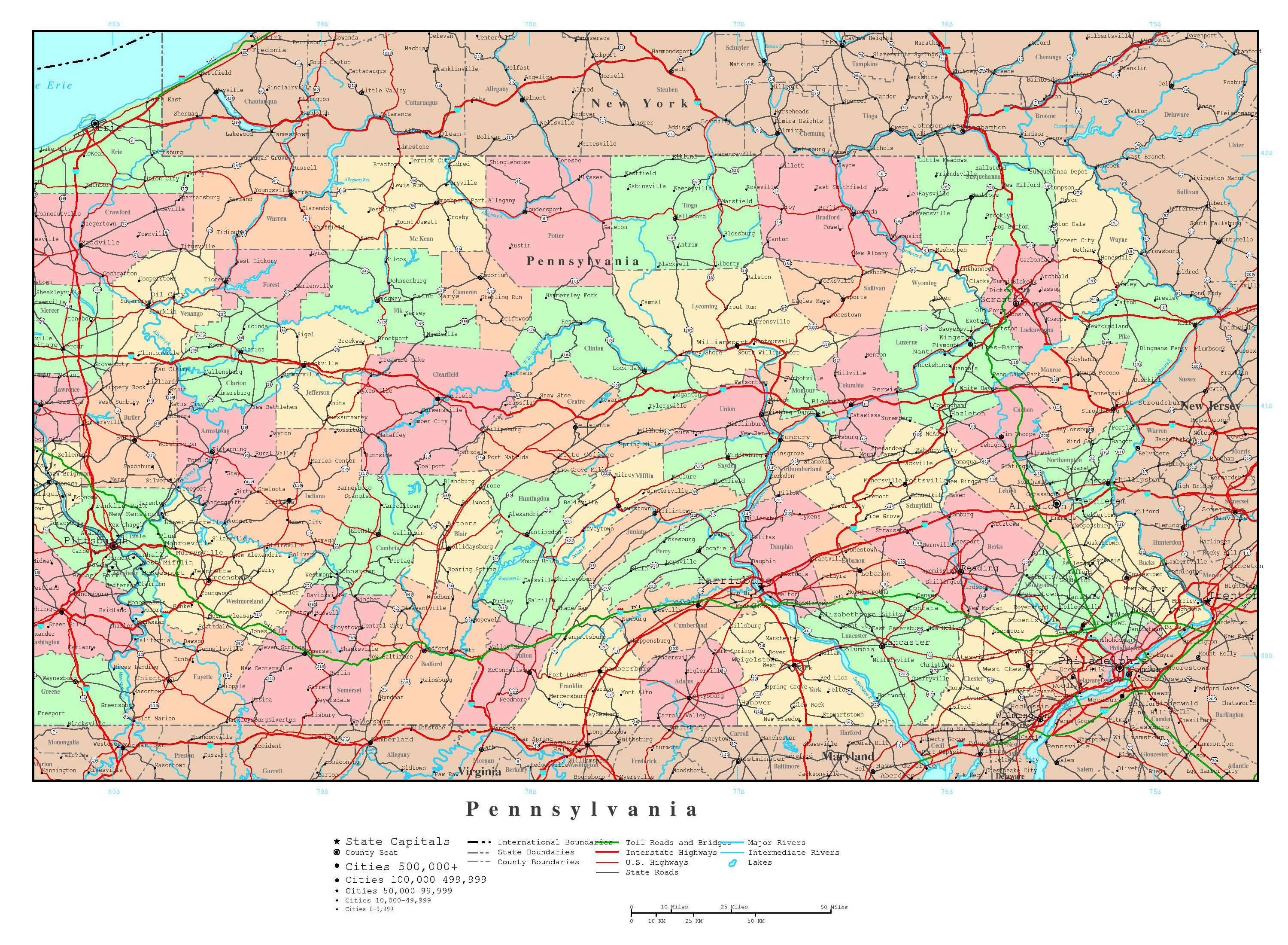 Large Detailed Administrative Map Of Pennsylvania State With Roads - Pennsylvania in usa map