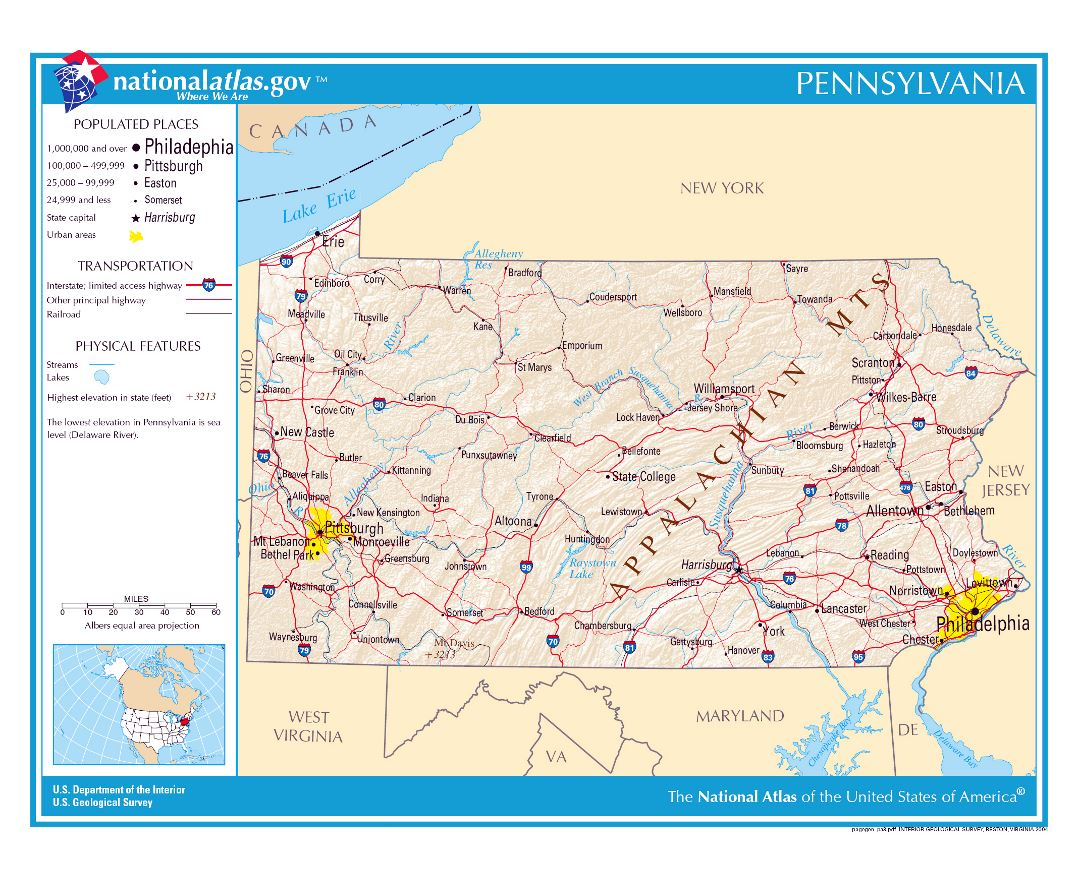 Large detailed map of Pennsylvania state