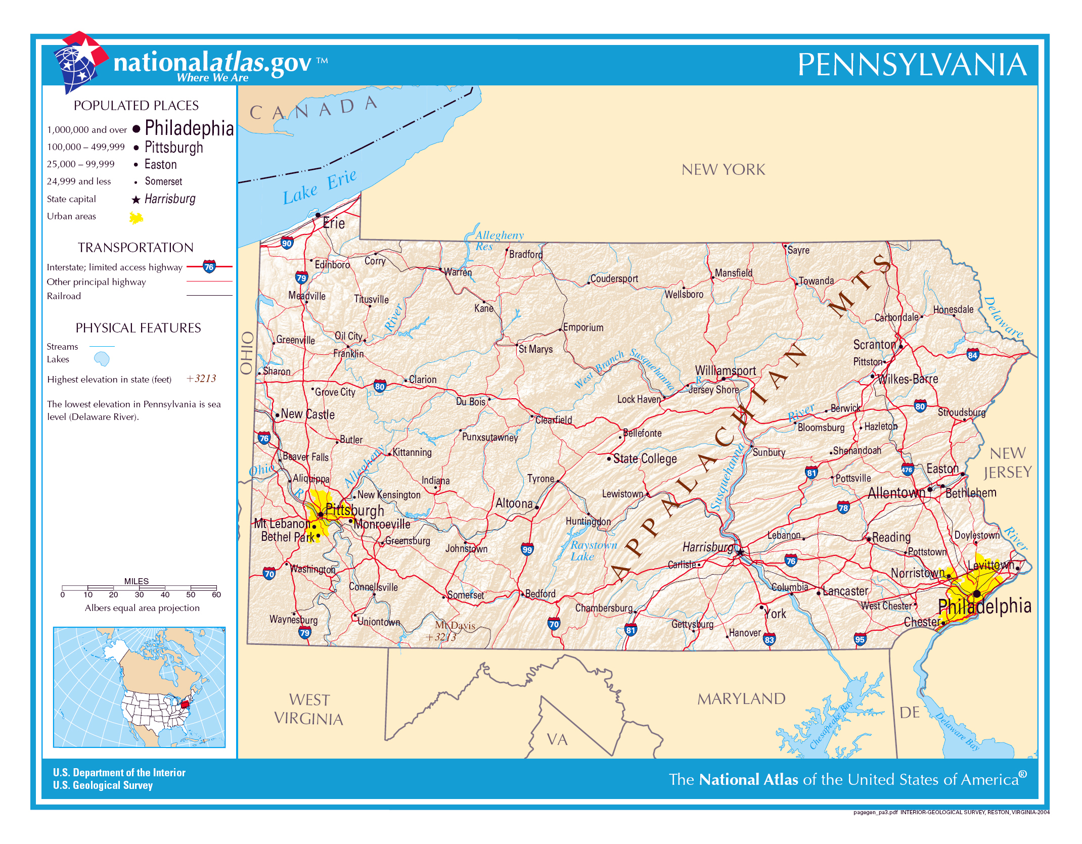 Large Detailed Map Of Pennsylvania State Pennsylvania State - Pennsylvania in usa map