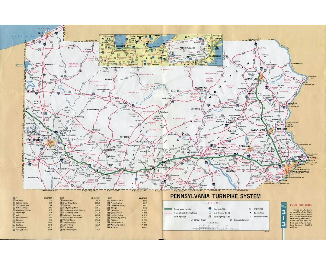 Large detailed map of Pennsylvania turnpike system - 1971