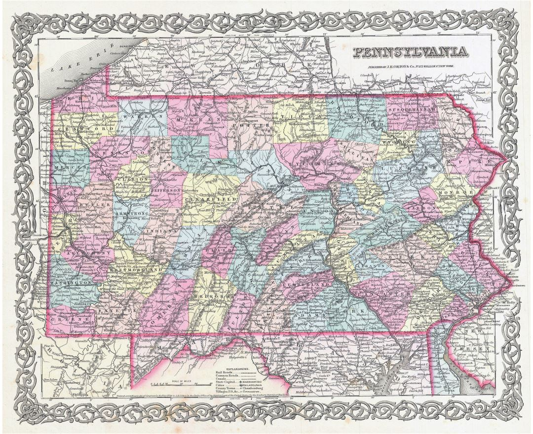 Large detailed old administrative map of Pennsylvania state with other marks - 1855