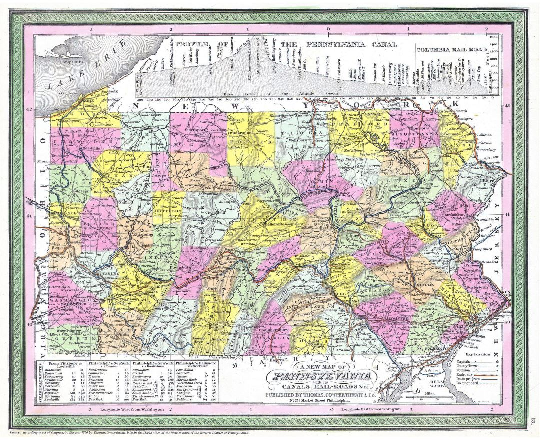 Large detailed old administrative map of Pennsylvania state with relief and other marks - 1850