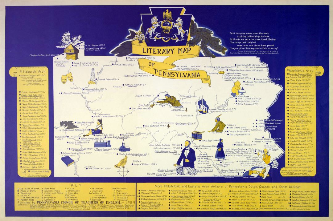 Large detailed old literary map of Pennsylvania state - 1959