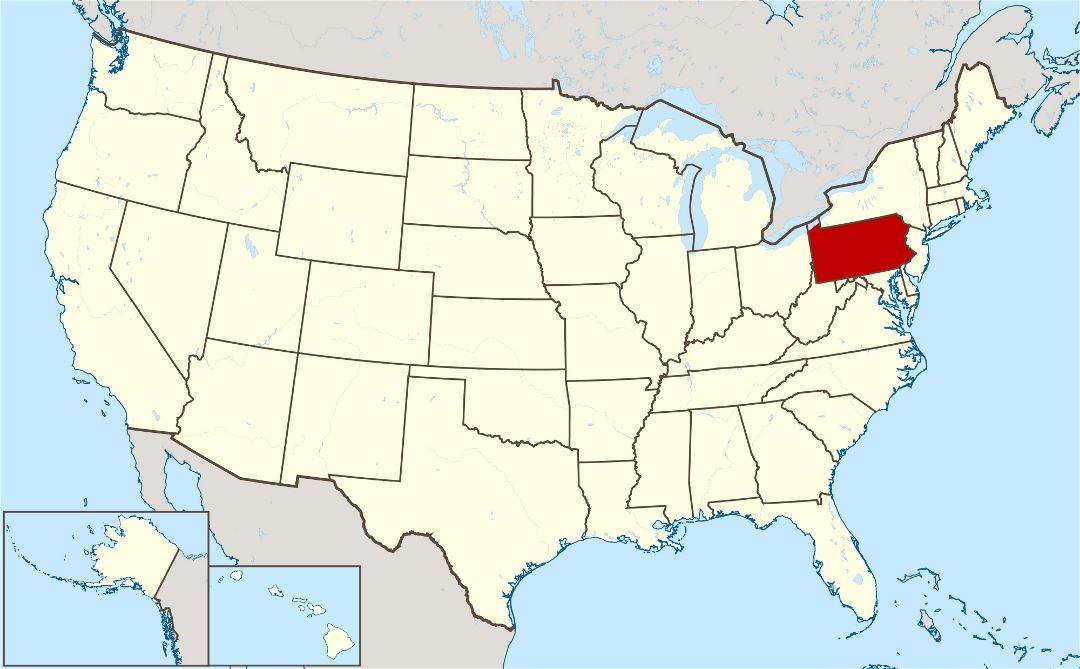 Large location map of Pennsylvania state