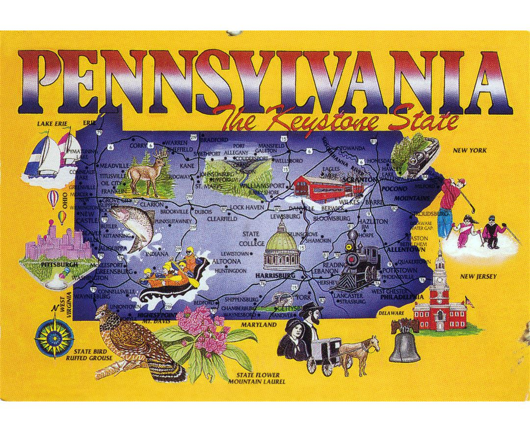 Large tourist map of Pennsylvania state