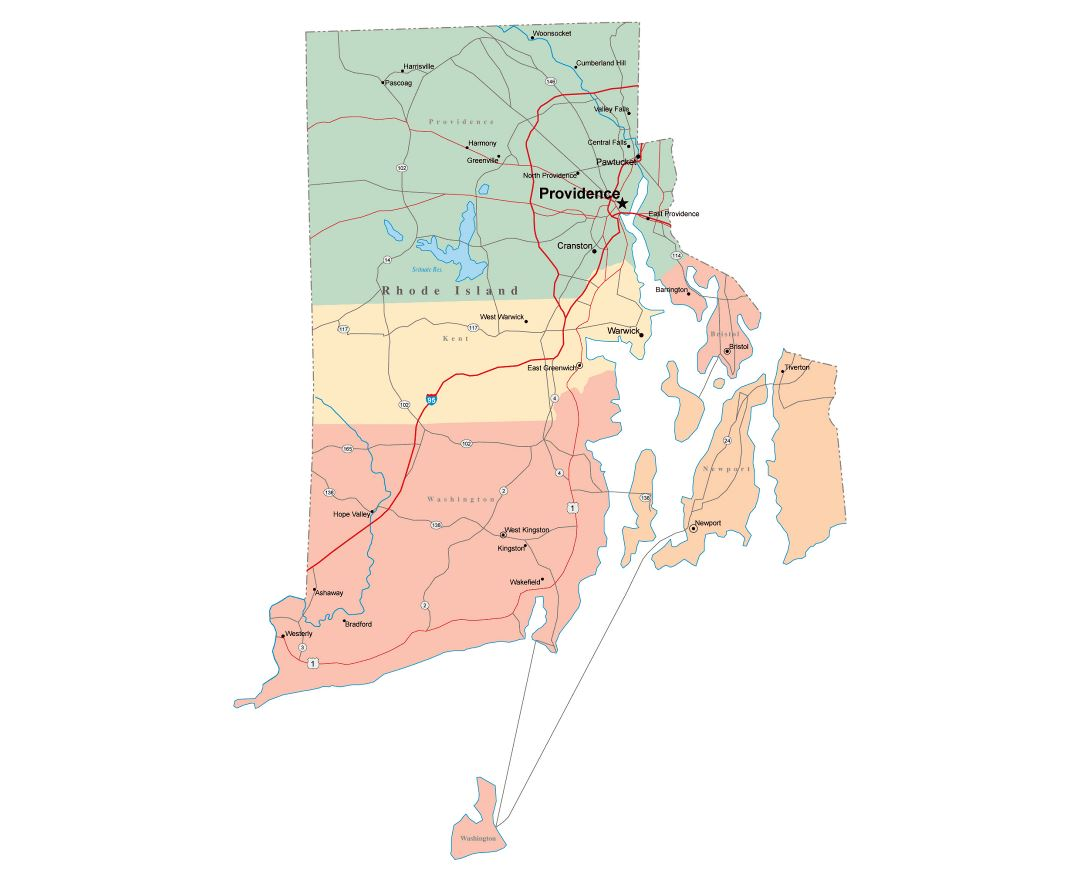 Maps of Rhode Island state Collection of detailed maps of Rhode
