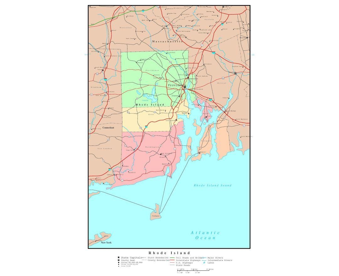Maps Of Rhode Island State Collection Of Detailed Maps Of Rhode - Road island usa map