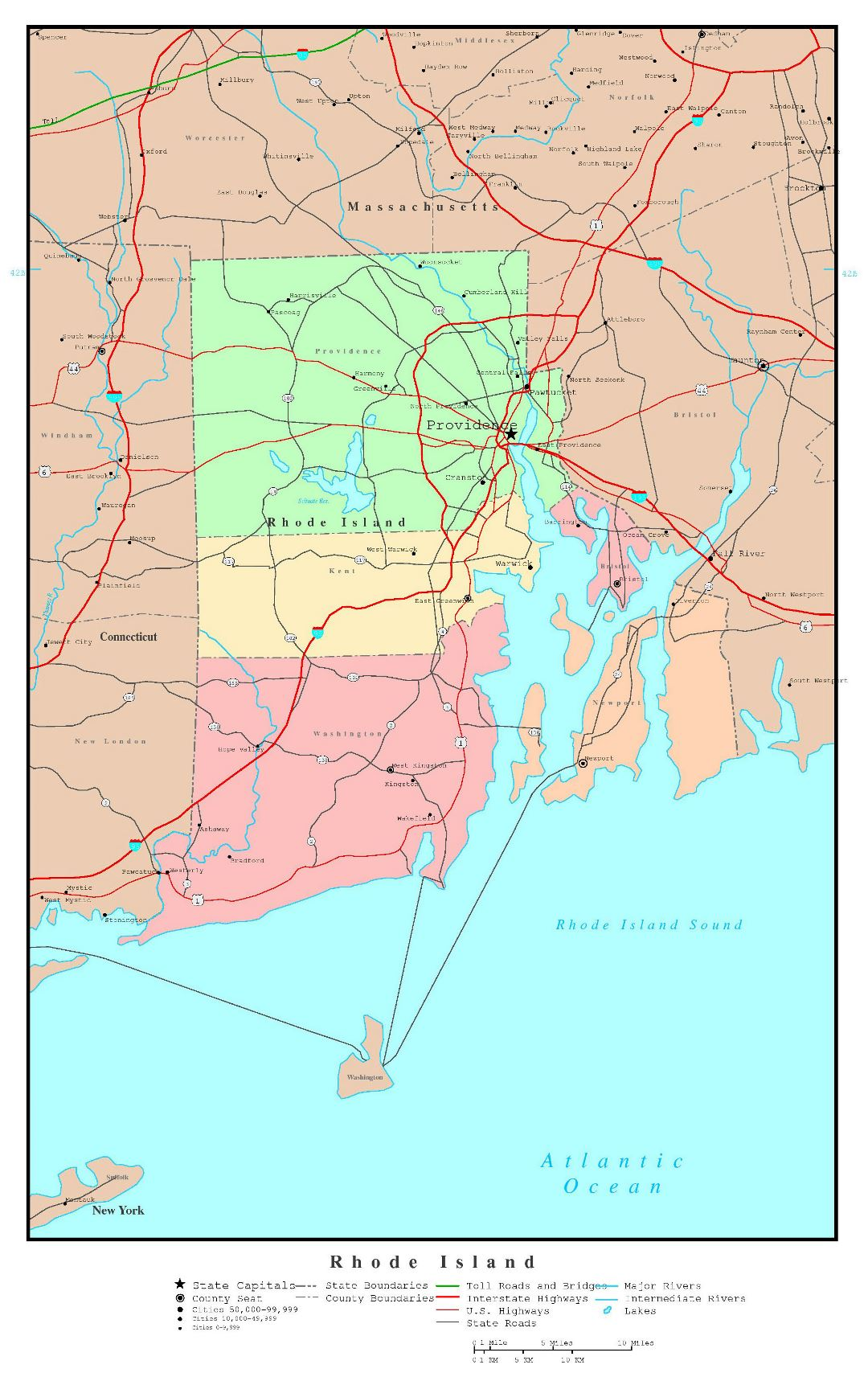 Large detailed administrative map of Rhode Island state with roads, highways and major cities