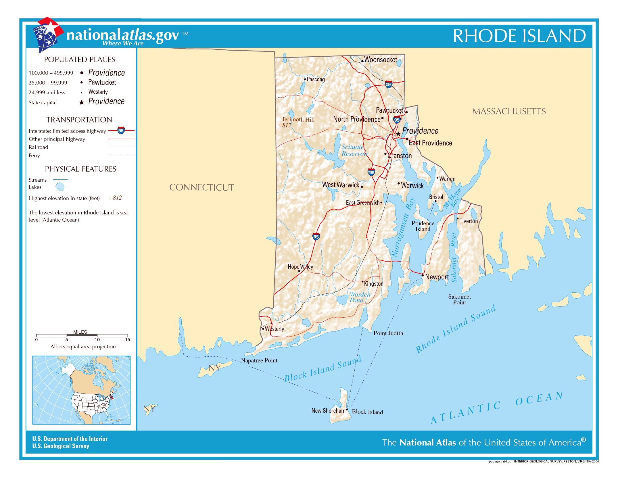 Large detailed map of Rhode Island state Rhode Island state USA