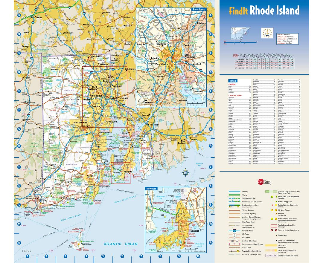 Maps Of Rhode Island State Collection Of Detailed Maps Of Rhode - Us state map large