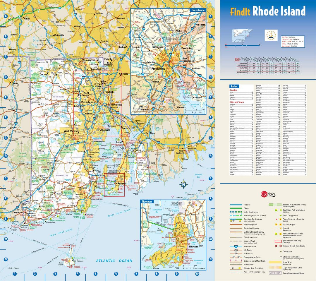 Large detailed roads and highways map of Rhode Island state with national parks, all cities, towns and villages