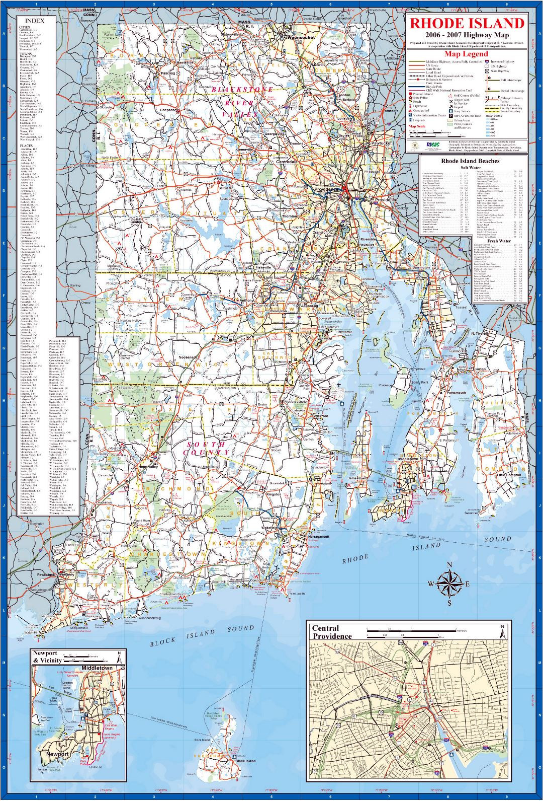 Large highway map of the state of Rhode Island