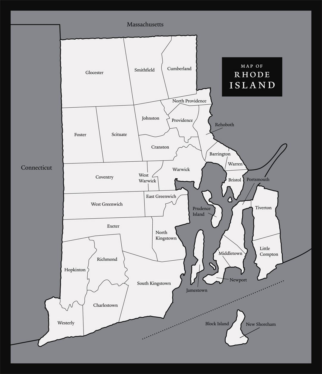 Large map of Rhode Island state with administrative divisions