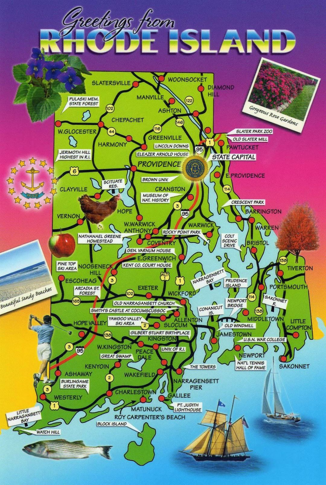 Large tourist map of Rhode Island state