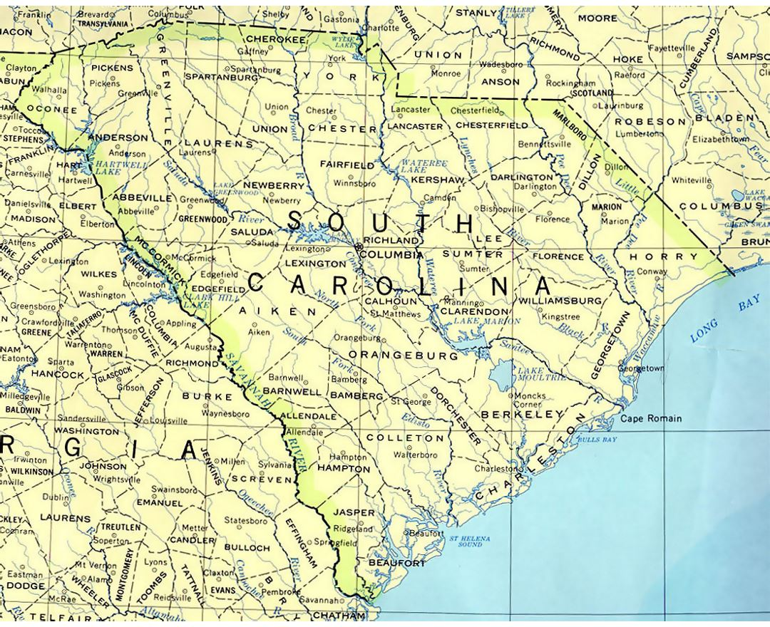 Administrative map of South Carolina state
