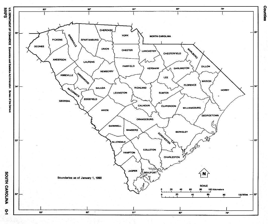 Detailed administrative map of South Carolina state
