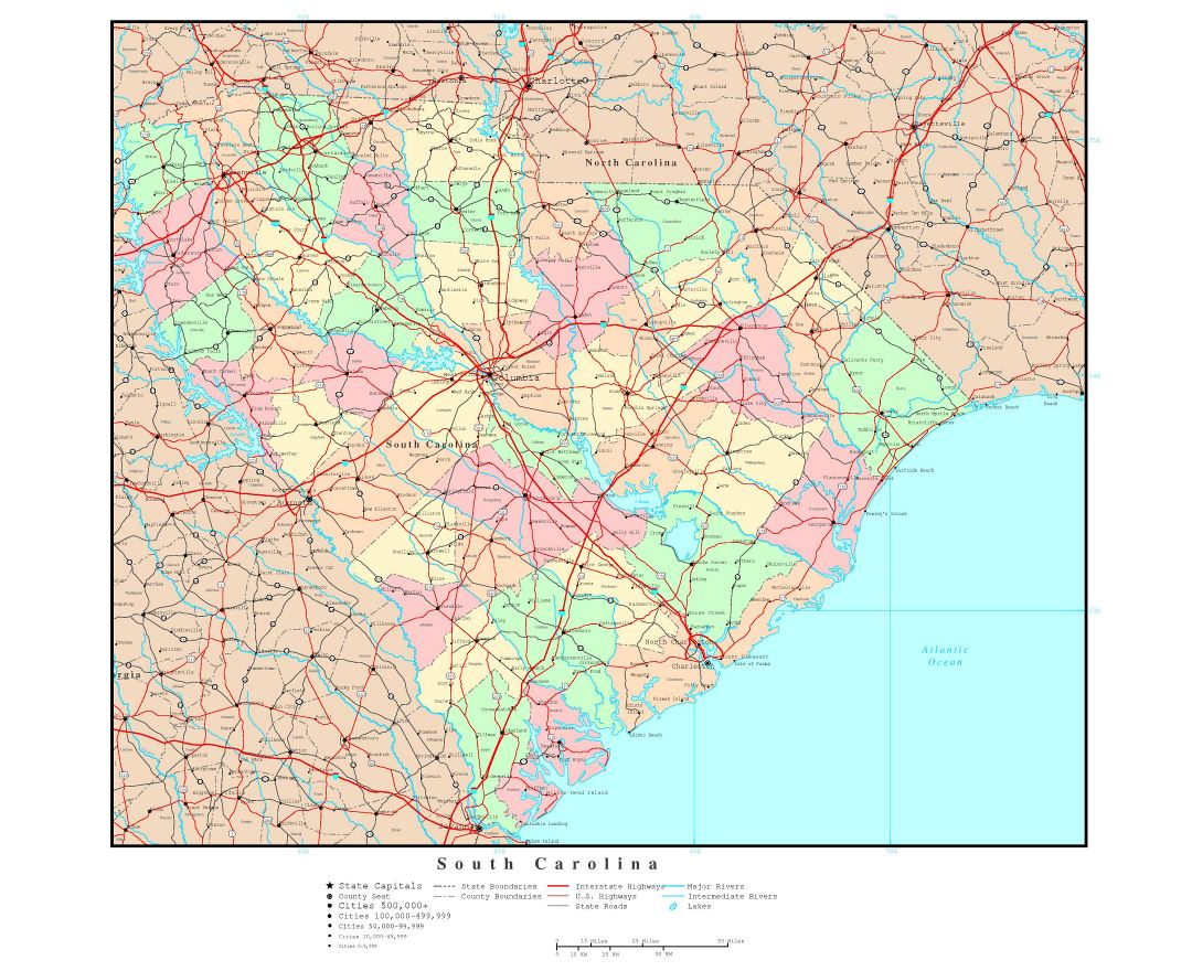 Large detailed administrative map of South Carolina state with roads, highways and major cities