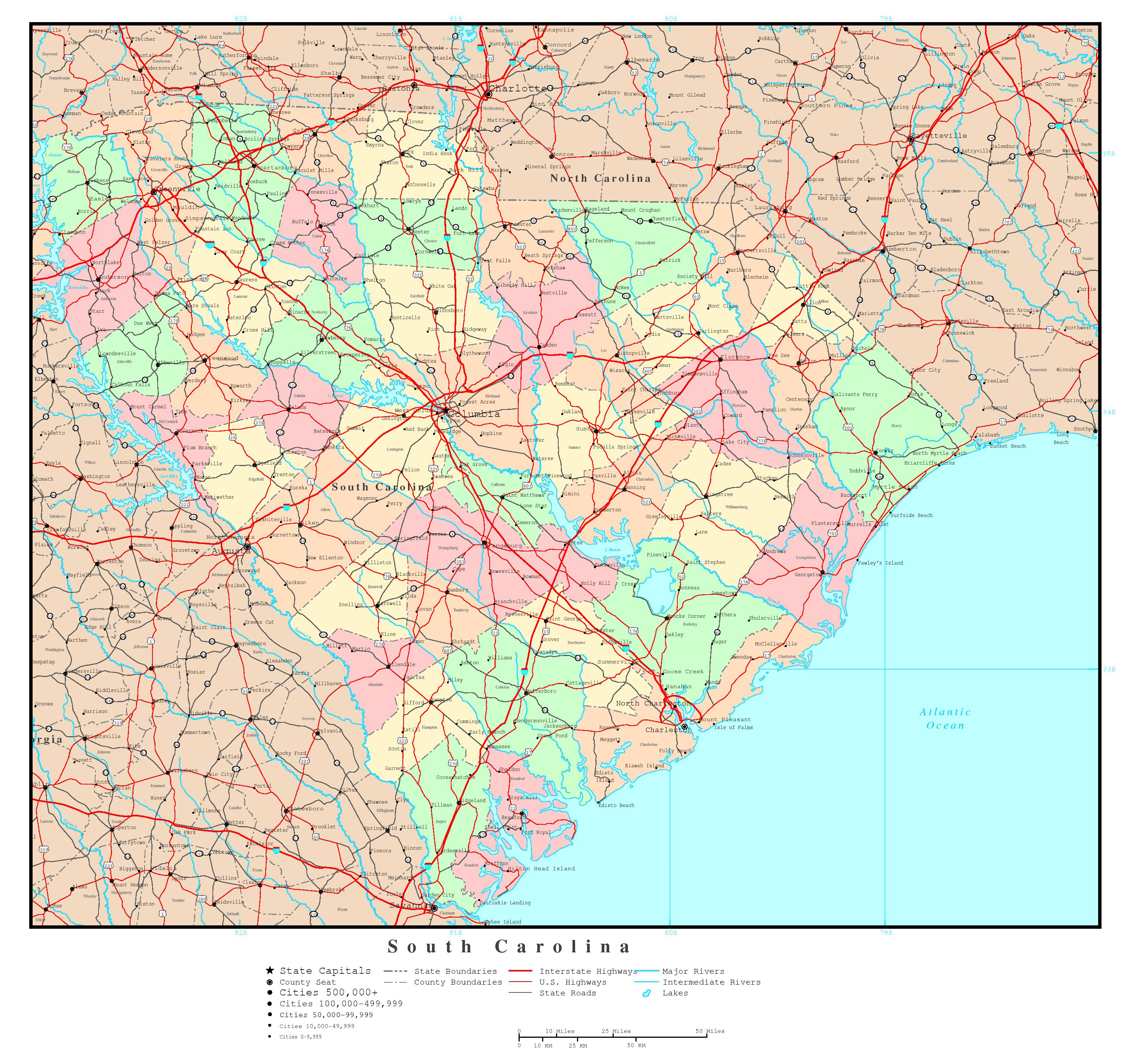 Large Detailed Administrative Map Of South Carolina State With - Map Of Us With Majoor Cities And Roads