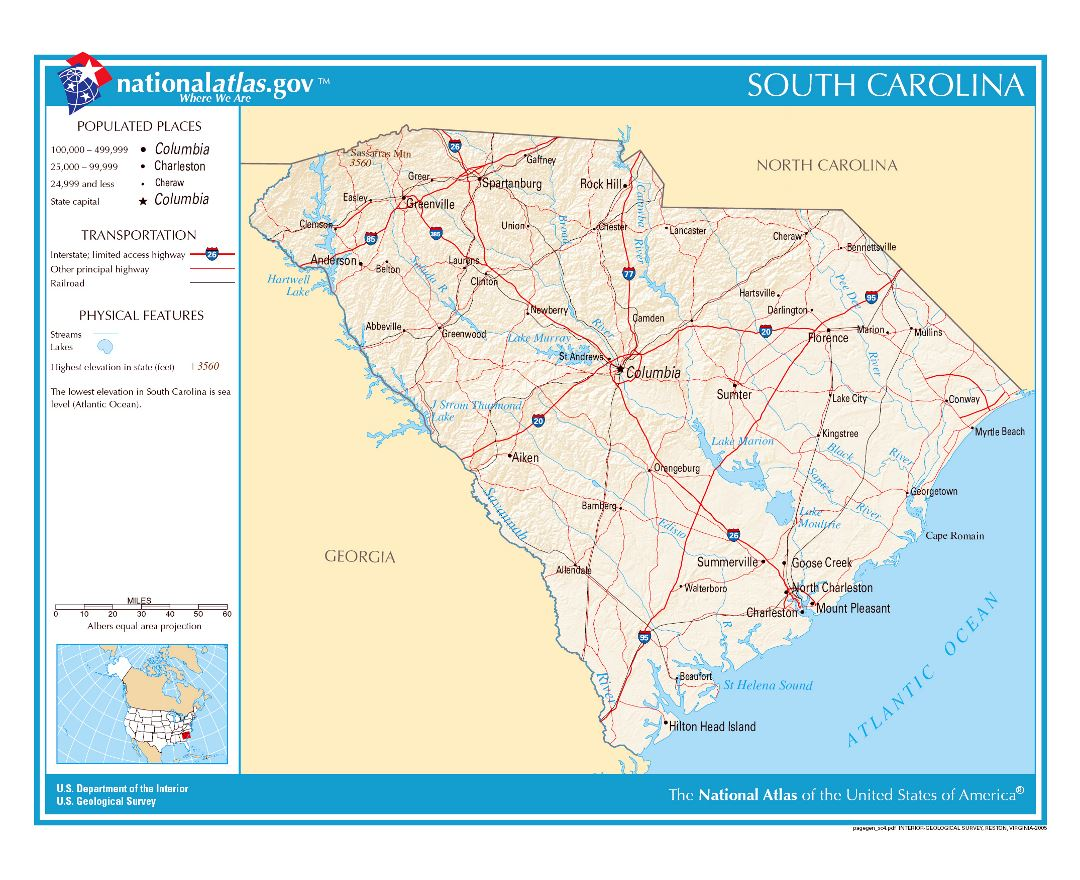 Maps of South Carolina state Collection of detailed maps of South
