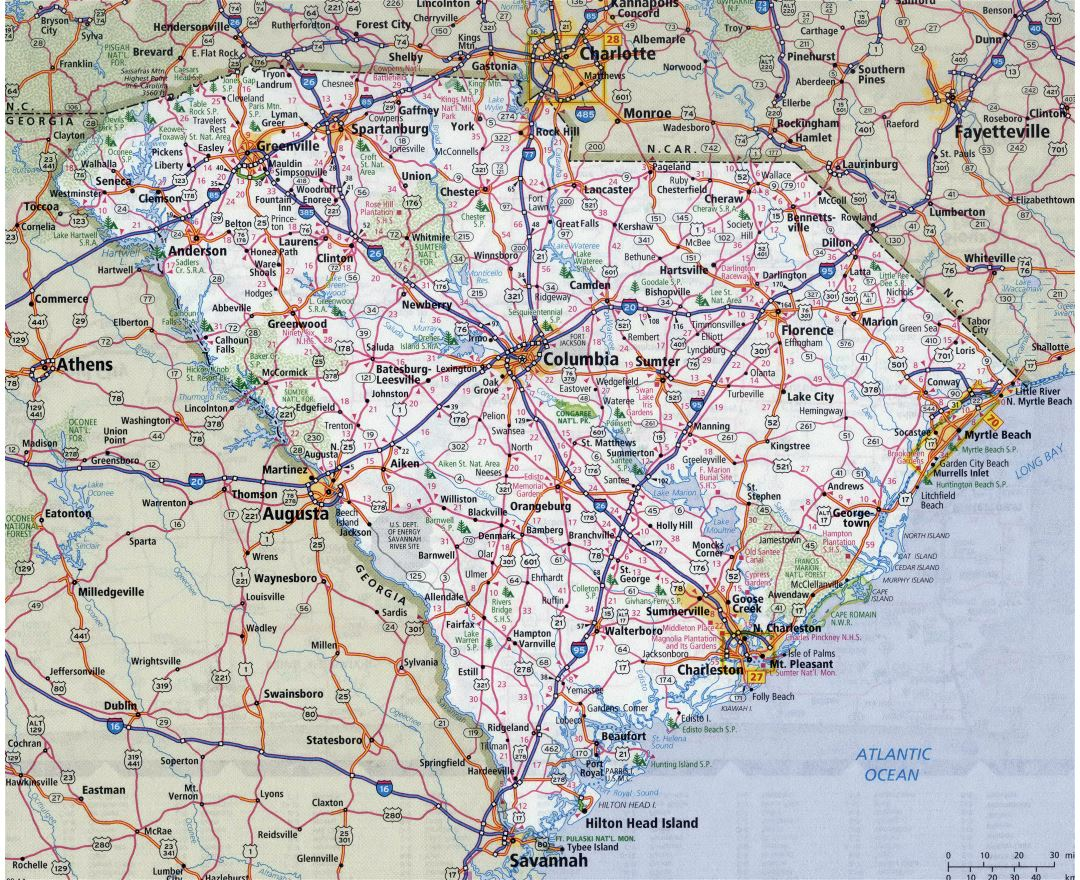 Large detailed roads and highways map of South Carolina state with all cities