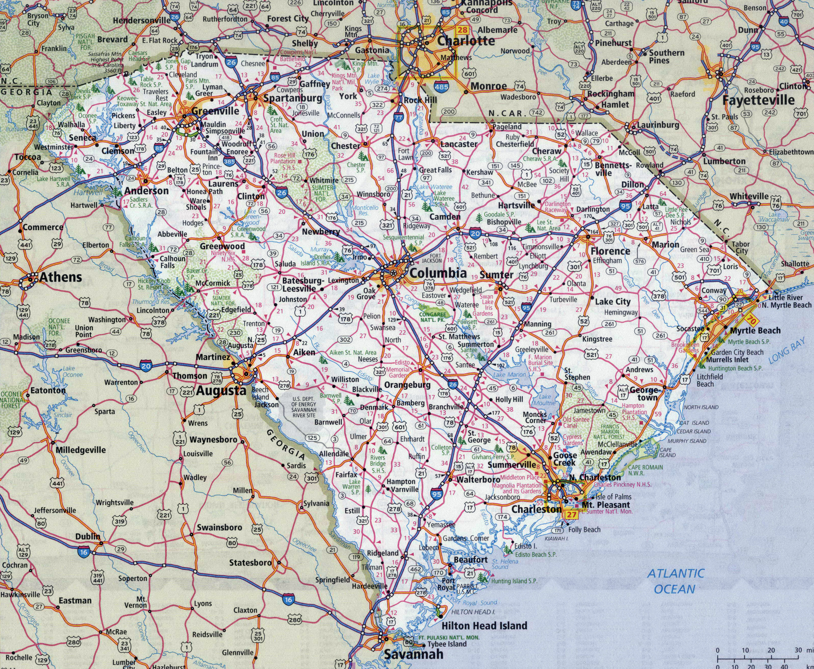 Picture of: Large Detailed Roads And Highways Map Of South Carolina State With All Cities South Carolina State Usa Maps Of The Usa Maps Collection Of The United States Of America
