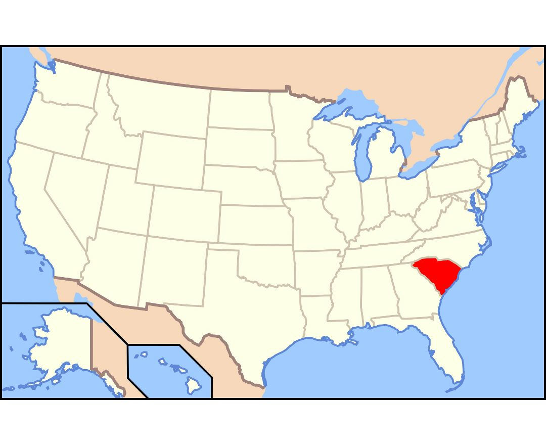 Large location map of South Carolina state